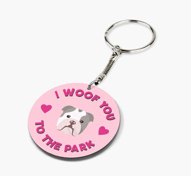 'To the Park and Back' - Personalized English Bulldog Double-Sided Keyring