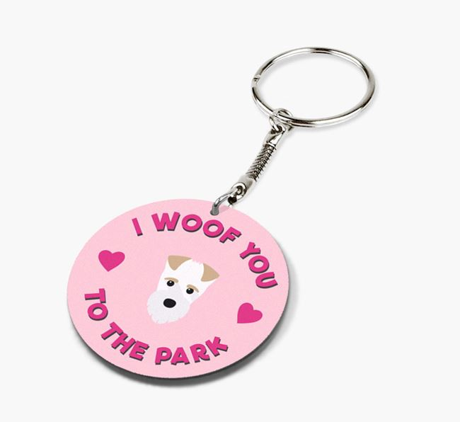 'To the Park and Back' - Personalized Fox Terrier Double-Sided Keyring