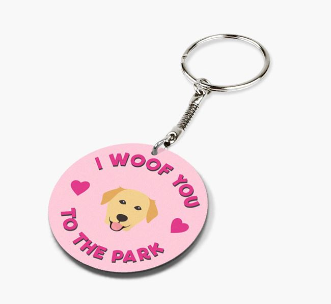 'To the Park and Back' - Personalized Golden Labrador Double-Sided Keyring