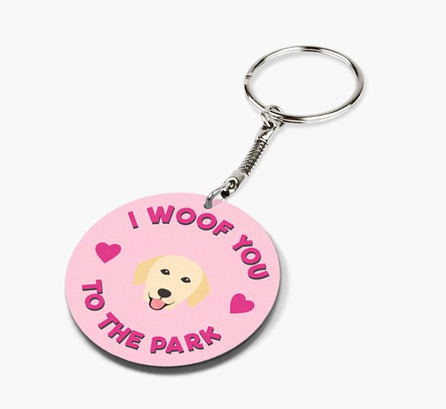 'To the Park and Back' - Personalized Golden Retriever Double-Sided Keyring