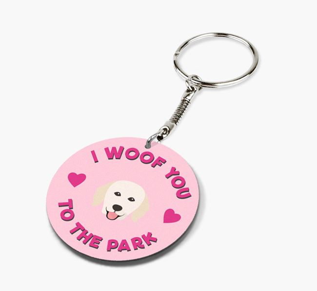 'To the Park and Back' - Personalized Hungarian Kuvasz Double-Sided Keyring