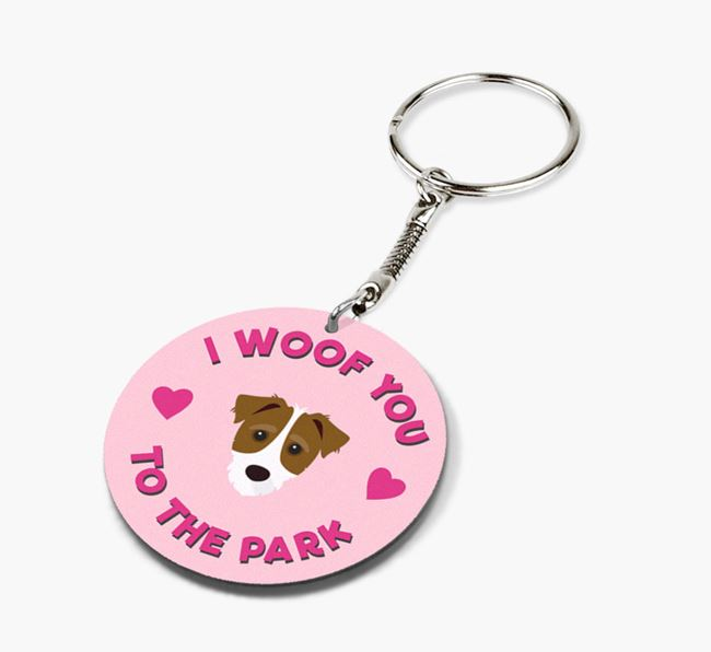 'To the Park and Back' - Personalized Jack-A-Poo Double-Sided Keyring