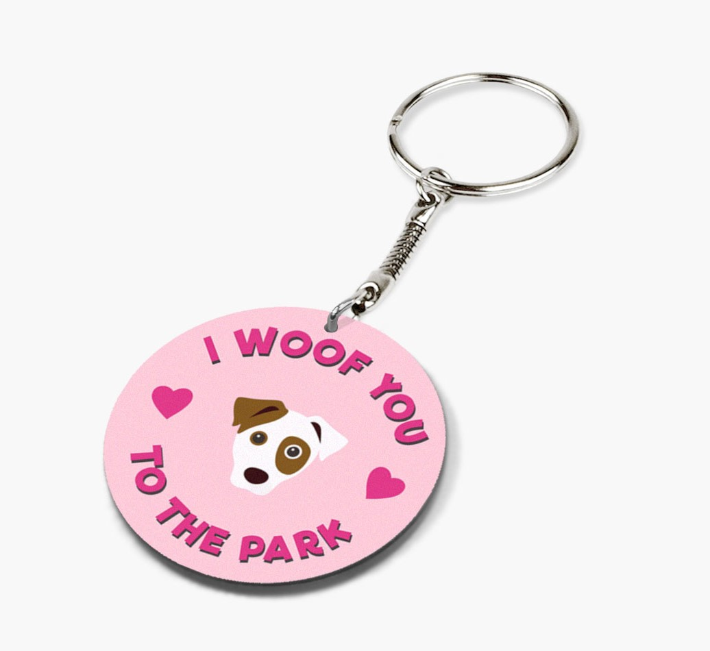 Hand holding Dog 'To the Park and Back' Keyring