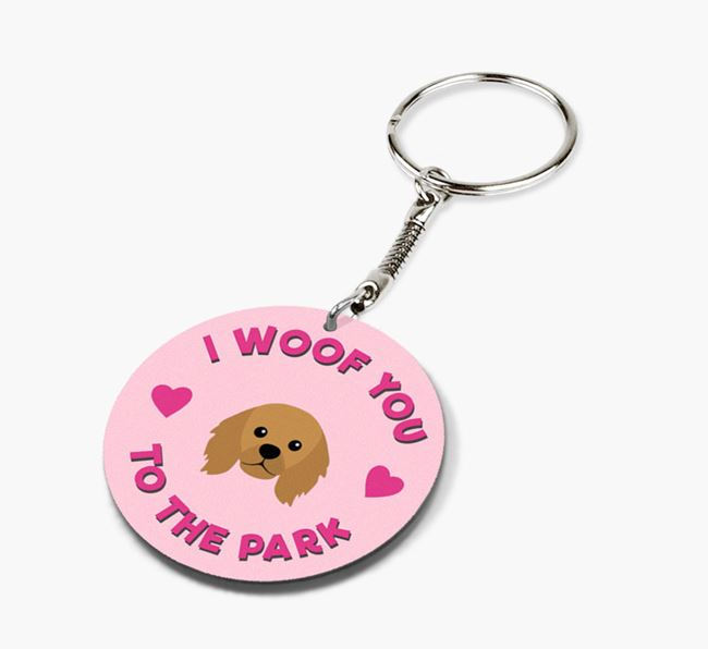 'To the Park and Back' - Personalized King Charles Spaniel Double-Sided Keyring
