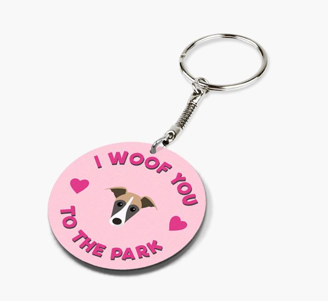 'To the Park and Back' - Personalized Lurcher Double-Sided Keyring