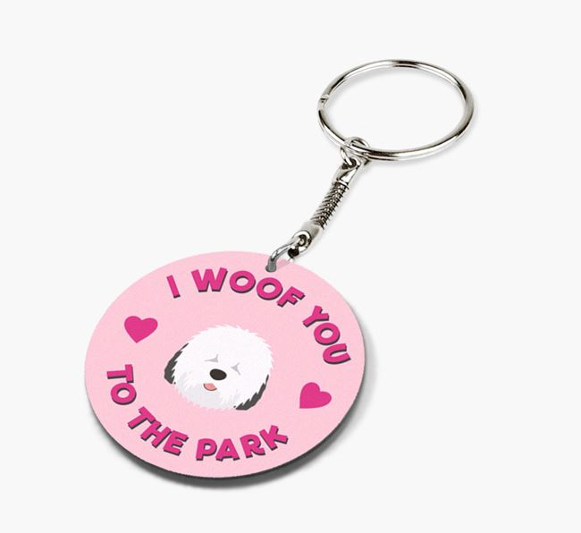 'To the Park and Back' - Personalized Old English Sheepdog Double-Sided Keyring