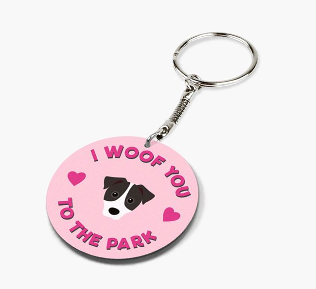 'To the Park and Back' - Personalized Parson Russell Terrier Double-Sided Keyring