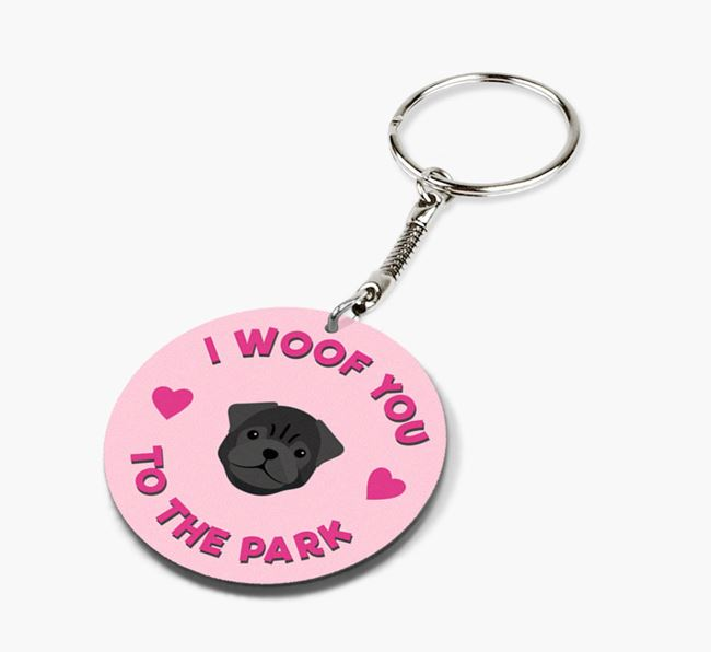 'To the Park and Back' - Personalized Pug Double-Sided Keyring