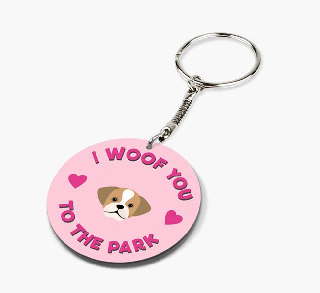 'To the Park and Back' - Personalized Puggle Double-Sided Keyring