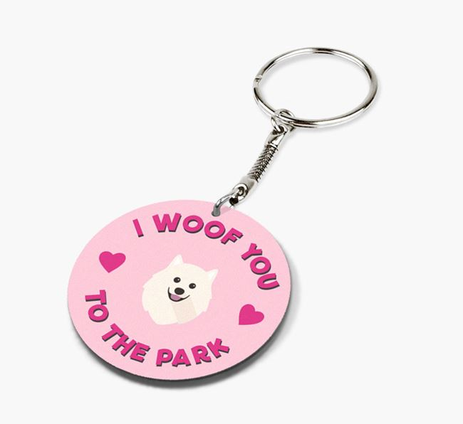 'To the Park and Back' - Personalized Samoyed Double-Sided Keyring
