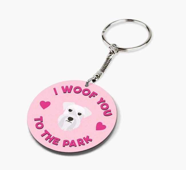 'To the Park and Back' - Personalized Schnauzer Double-Sided Keyring