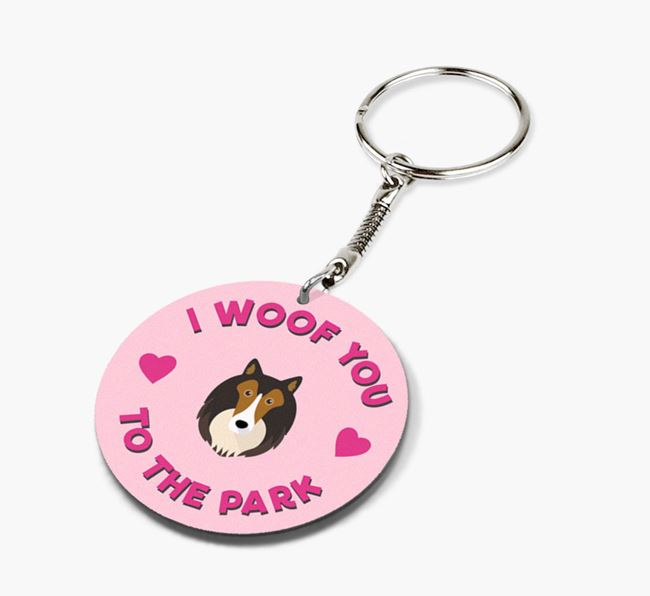 'To the Park and Back' - Personalized Shetland Sheepdog Double-Sided Keyring