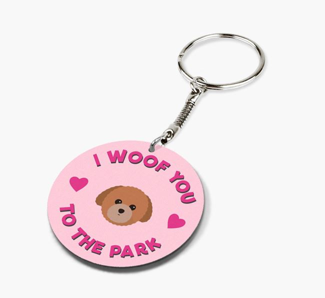 'To the Park and Back' - Personalized Toy Poodle Double-Sided Keyring