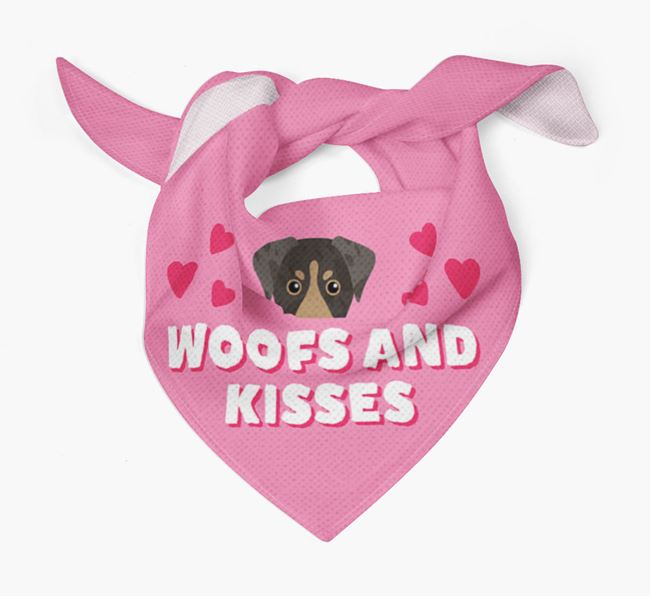 'Woofs and Kisses' - Personalised American Leopard Hound Bandana