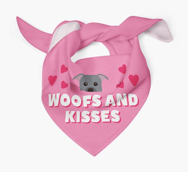 'Woofs and Kisses' - Personalized American Pit Bull Terrier Bandana