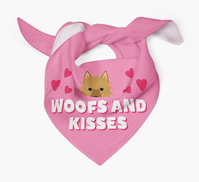 'Woofs and Kisses' - Personalised Australian Terrier Bandana