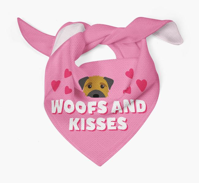 'Woofs and Kisses' - Personalised Border Terrier Bandana
