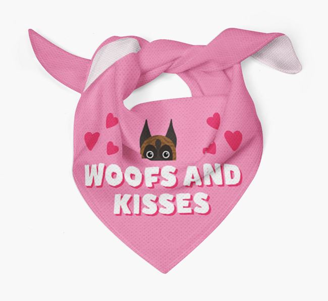 'Woofs and Kisses' - Personalised Boxer Bandana
