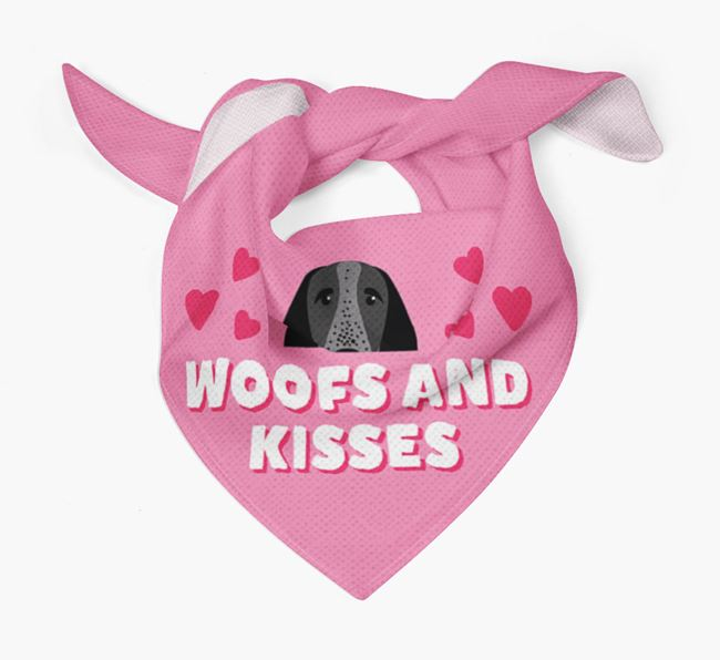 'Woofs and Kisses' - Personalised Braque D'Auvergne Bandana