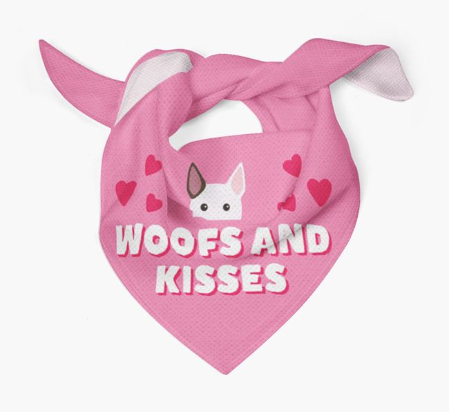 'Woofs and Kisses' - Personalized Bull Terrier Bandana