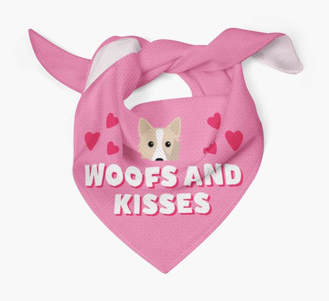 'Woofs and Kisses' - Personalised Icelandic Sheepdog Bandana