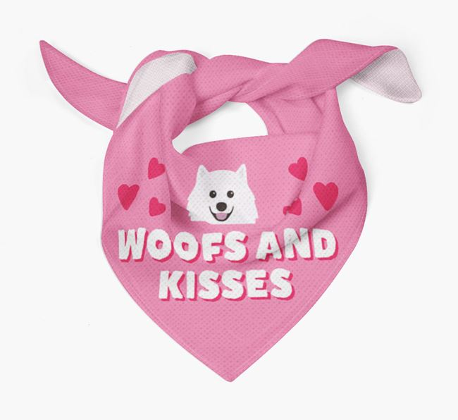 'Woofs and Kisses' - Personalised Japanese Spitz Bandana
