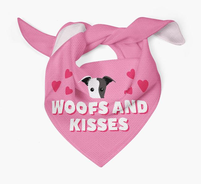 'Woofs and Kisses' - Personalised Lurcher Bandana