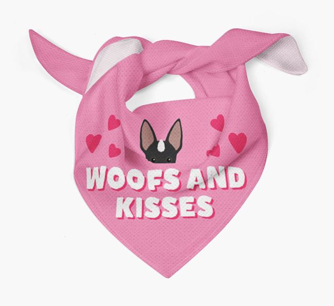 'Woofs and Kisses' - Personalised Mexican Hairless Bandana