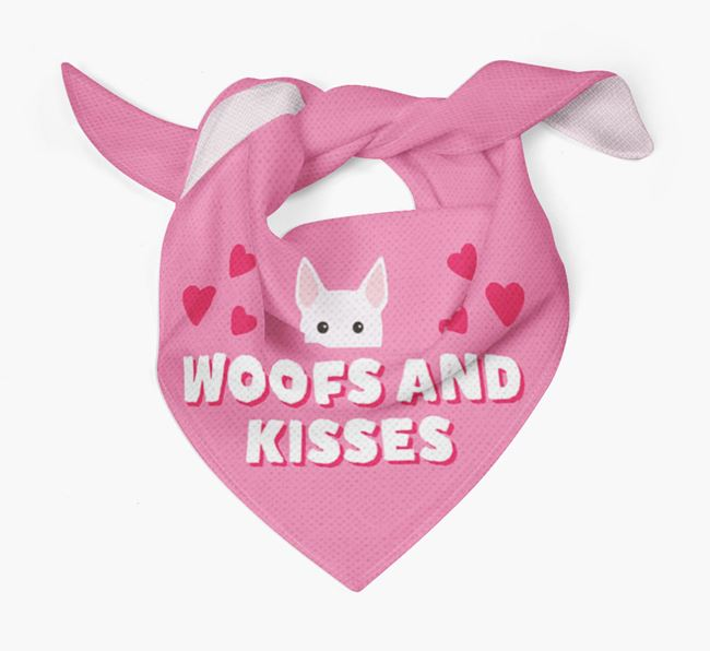 'Woofs and Kisses' - Personalised Miniature Bull Terrier Bandana