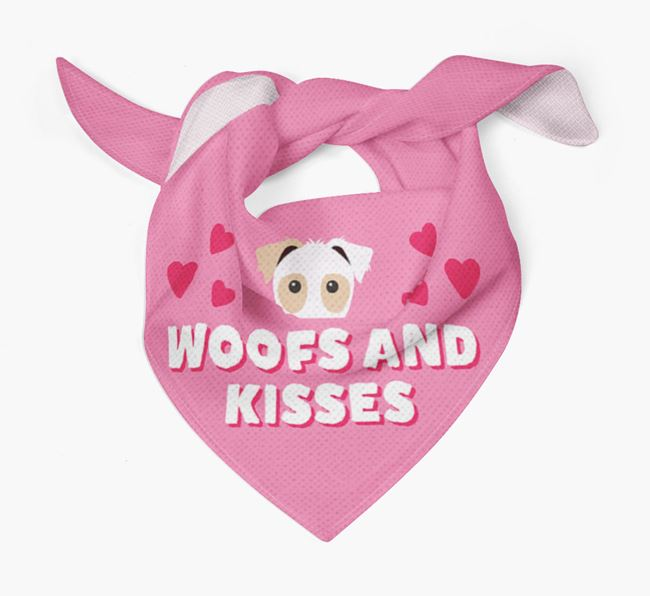 'Woofs and Kisses' - Personalised Parson Russell Terrier Bandana