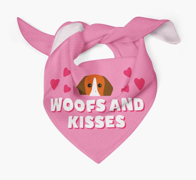 'Woofs and Kisses' - Personalised Pointer Bandana