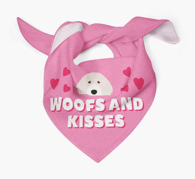 'Woofs and Kisses' - Personalised Portuguese Water Dog Bandana
