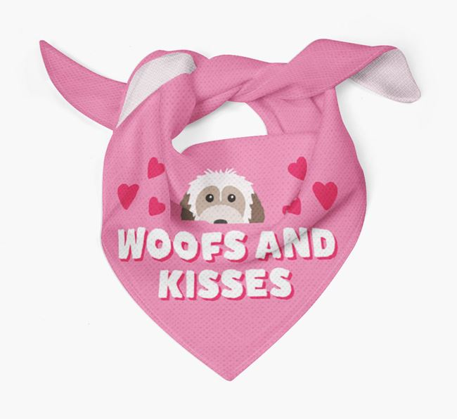 'Woofs and Kisses' - Personalised Powderpuff Chinese Crested Bandana