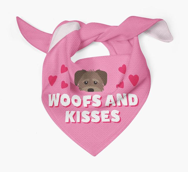 'Woofs and Kisses' - Personalised Schnoodle Bandana