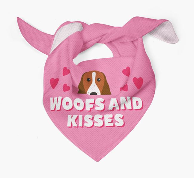 'Woofs and Kisses' - Personalised Welsh Springer Spaniel Bandana
