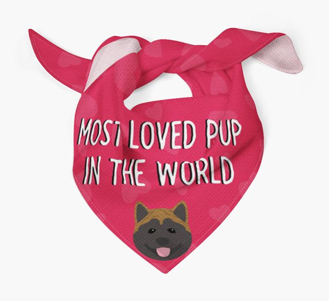 'Most Loved Pup in the World' - Personalised Akita Bandana