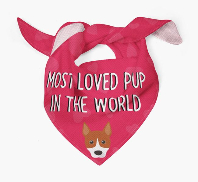 'Most Loved Pup in the World' - Personalized Basenji Bandana