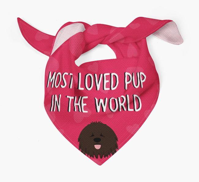 'Most Loved Pup in the World' - Personalised Bergamasco Bandana