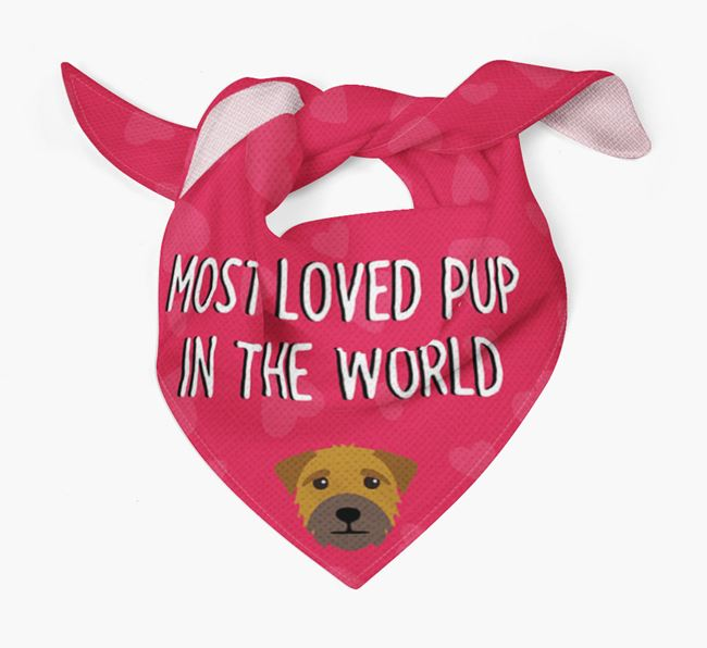'Most Loved Pup in the World' - Personalised Border Terrier Bandana