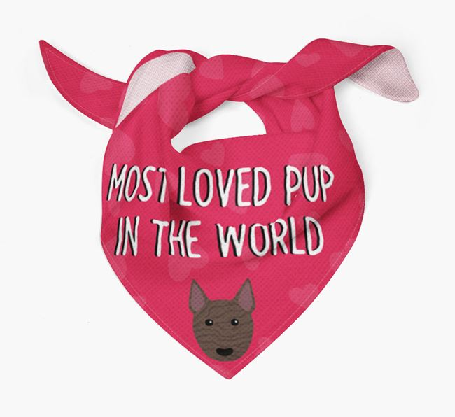 'Most Loved Pup in the World' - Personalized Bull Terrier Bandana