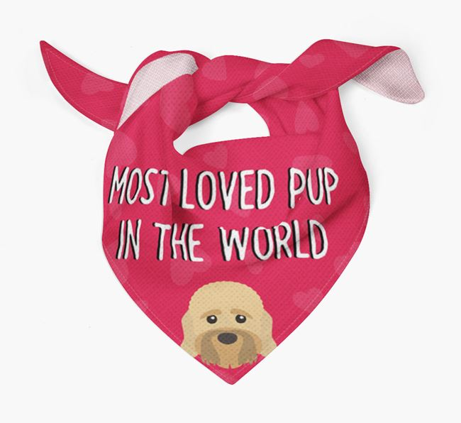 'Most Loved Pup in the World' - Personalised Dandie Dinmont Terrier Bandana