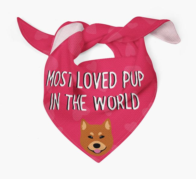 'Most Loved Pup in the World' - Personalised Finnish Spitz Bandana