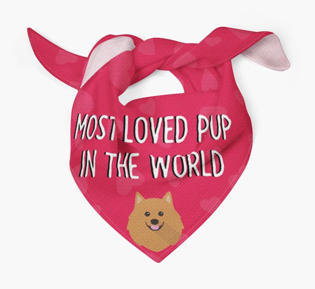 'Most Loved Pup in the World' - Personalised German Spitz Bandana