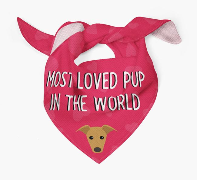 'Most Loved Pup in the World' - Personalised Greyhound Bandana