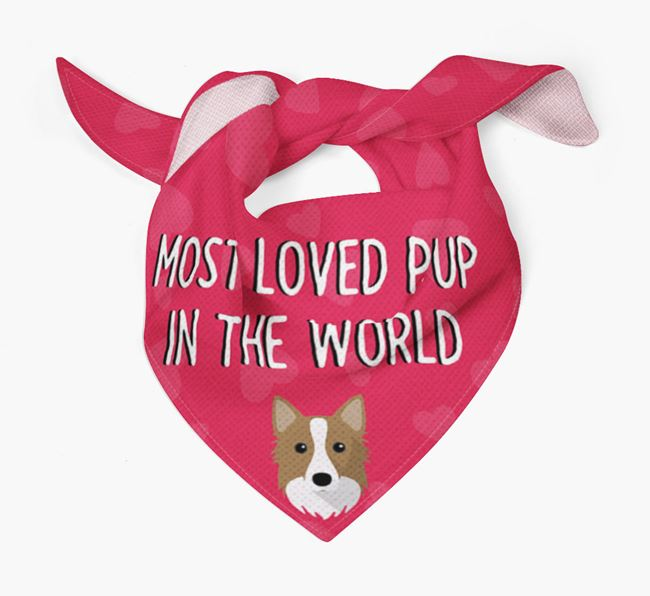 'Most Loved Pup in the World' - Personalised Icelandic Sheepdog Bandana
