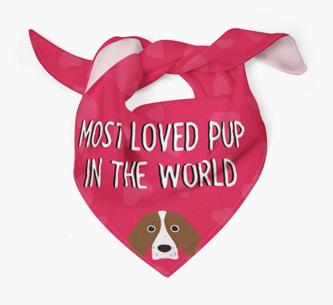 'Most Loved Pup in the World' - Personalised Irish Red & White Setter Bandana
