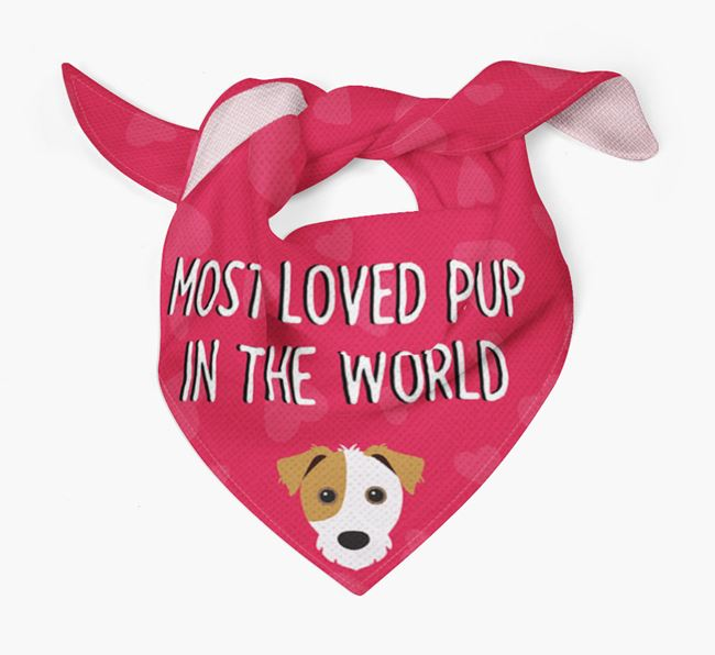 'Most Loved Pup in the World' - Personalized Jack Russell Terrier Bandana