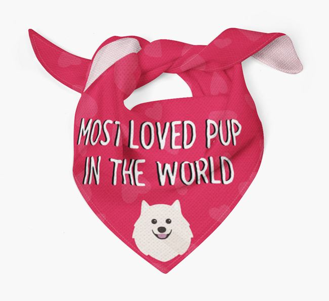 'Most Loved Pup in the World' - Personalised Japanese Spitz Bandana