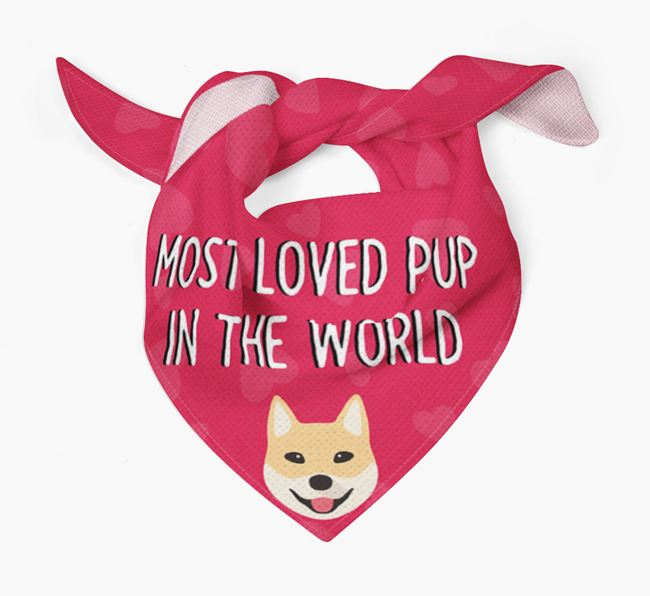 'Most Loved Pup in the World' - Personalised Korean Jindo Bandana