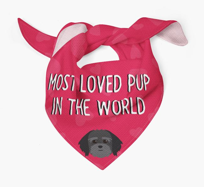 'Most Loved Pup in the World' - Personalised Lhatese Bandana